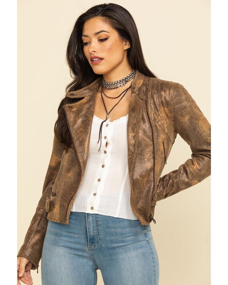 Free People Women's Gold Snake Fenix Vegan Jacket, Gold, hi-res