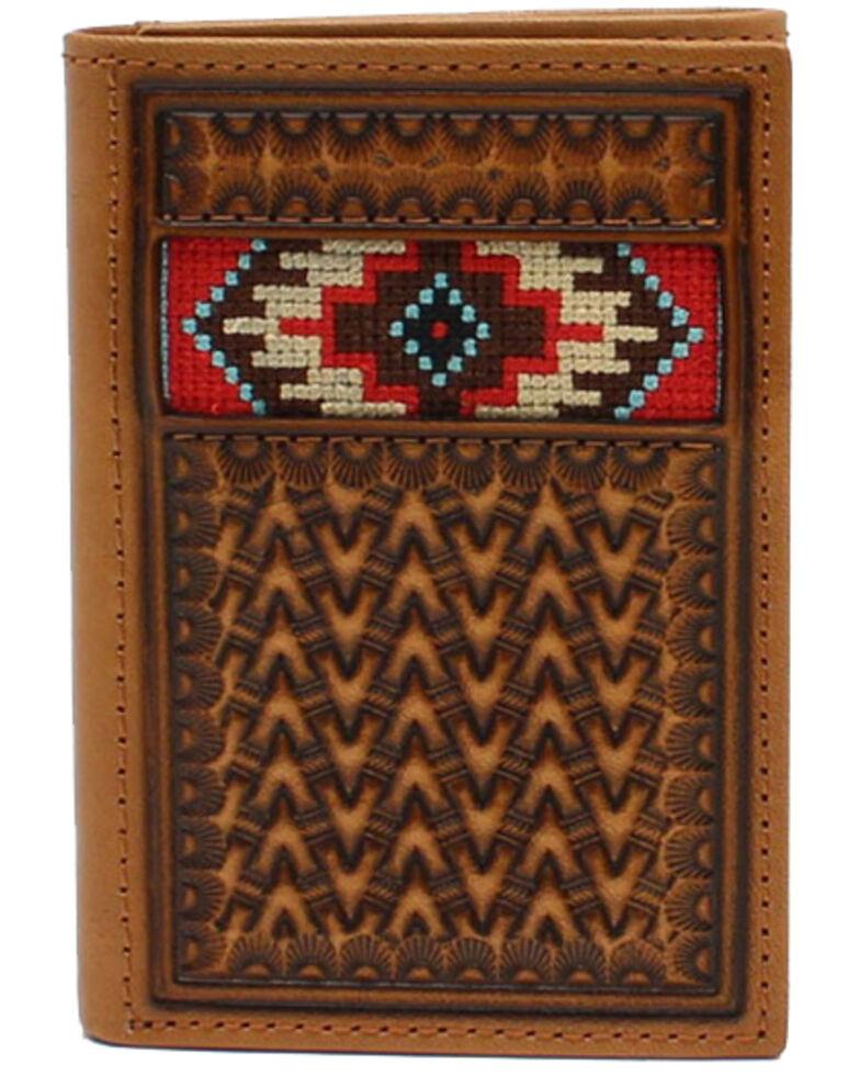 Ariat Men's Aztec Inlay Trifold Wallet, Tan, hi-res