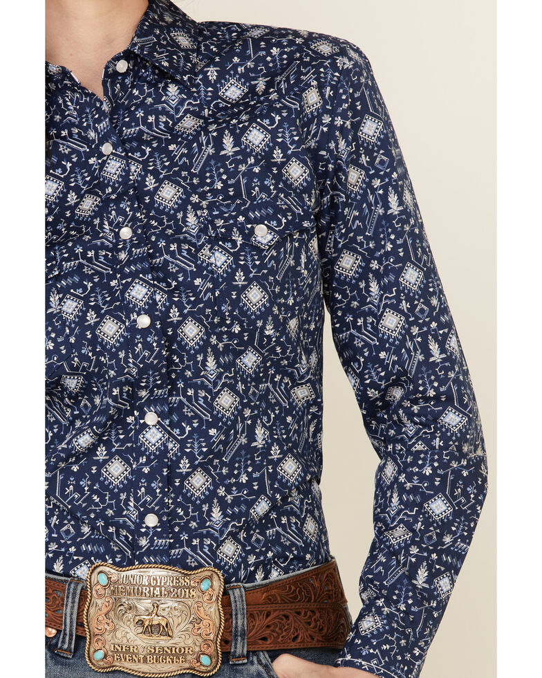 Rough Stock By Panhandle Women's Aztec Geo Print Long Sleeve Snap Western Core Shirt , Navy, hi-res