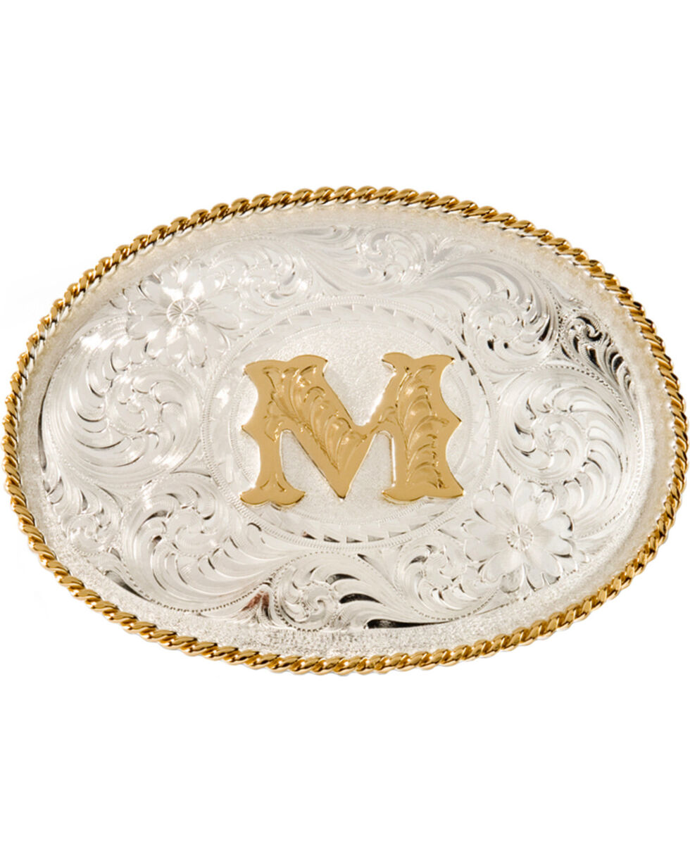"""Montana Silversmiths Initial """"M"""" Buckle, Silver, hi-res"""