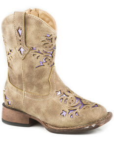 Roper Toddler Girls' Lola Tan Metallic Underlay Cowgirl Boots - Square Toe, Tan, hi-res