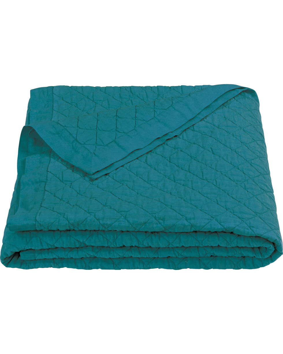 HiEnd Accents Diamond Pattern Turquoise Linen Full/Queen Quilt, Turquoise, hi-res