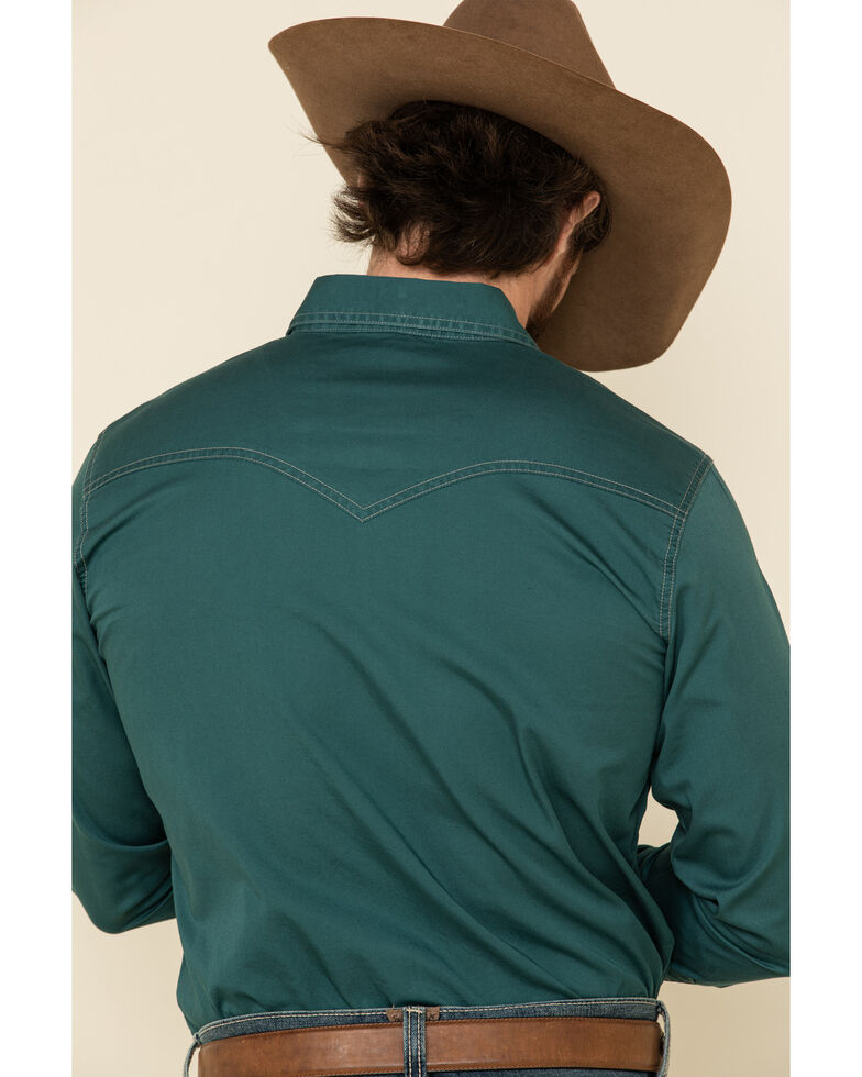 Wrangler Retro Men's Teal Solid Long Sleeve Western Shirt , Teal, hi-res
