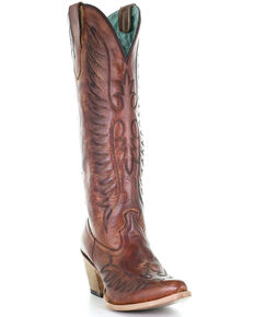 Corral Women's Cognac Embroidery Western Boots - Round Toe, Brown, hi-res