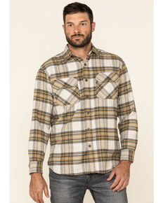 Pendleton Men's Ivory Burnside Large Plaid Long Sleeve Western Flannel Shirt , Ivory, hi-res