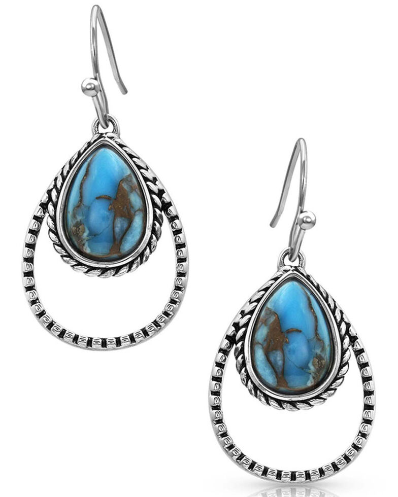 Montana Silversmiths Women's Double Rope Turquoise Earrings, Silver, hi-res
