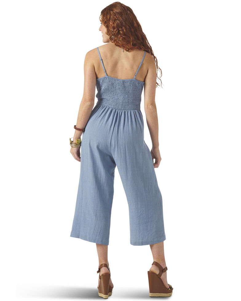 Wrangler Women's Chambray Tie Front Wide Leg Jumpsuit, Blue, hi-res