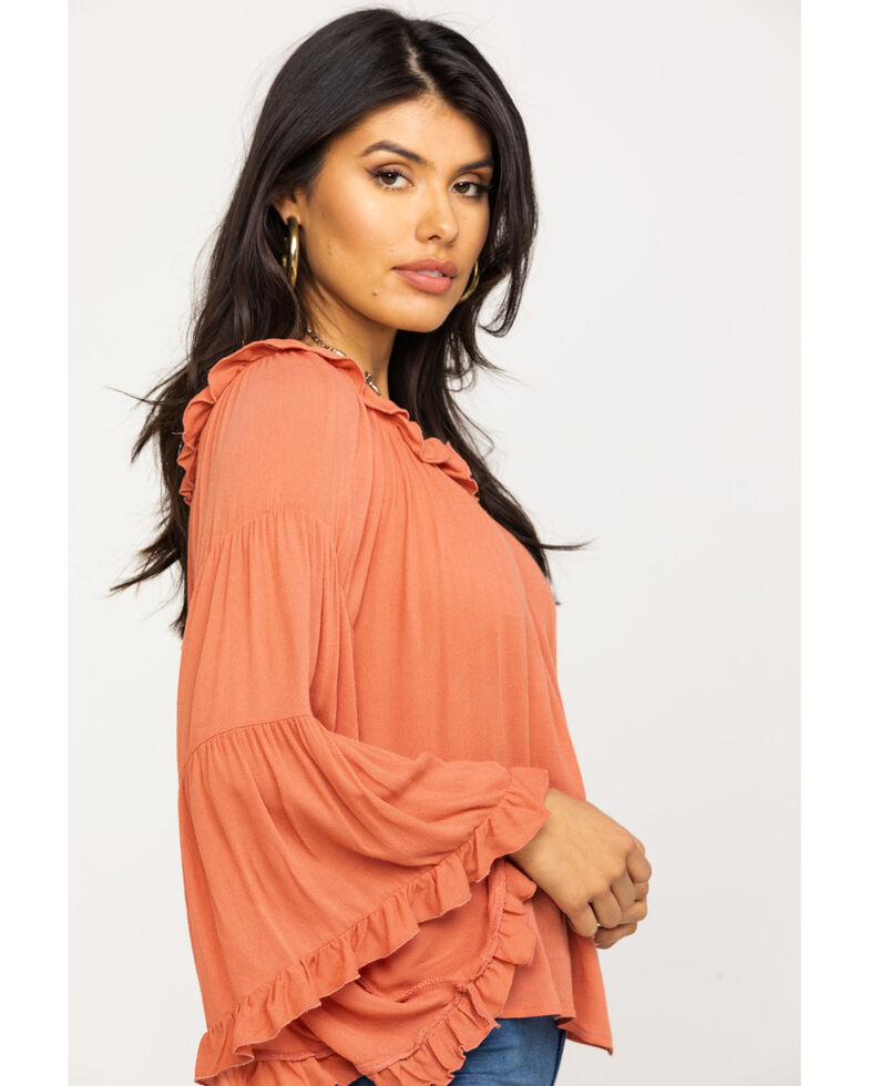 Red Label by Panhandle Women's Coral Off Shoulder Tiered Bell Sleeve Top, Coral, hi-res