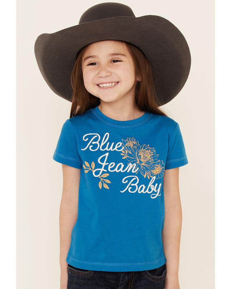 Cruel Girl Toddler Girls' Blue Jean Baby Graphic Short Sleeve Tee , Blue, hi-res