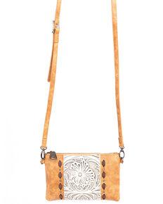Shyanne Women's Tooled Leather Fringe Wristlet, Brown, hi-res