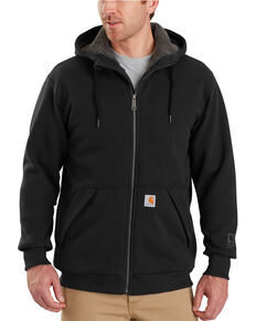 Carhartt Men's Rain Defender Rockland Sherpa-Lined Full-Zip Hooded Jacket , Black, hi-res