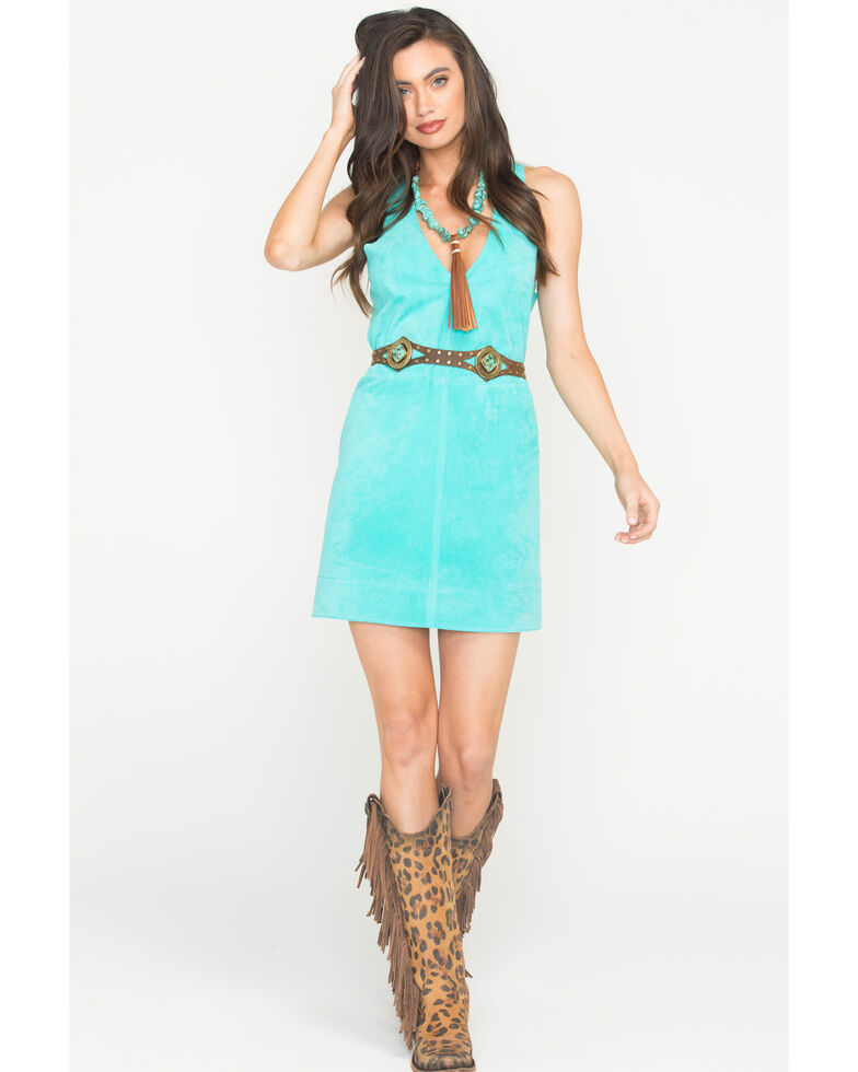 MI.OH.MI. Women's Suede Sleeveless Dress, Turquoise, hi-res