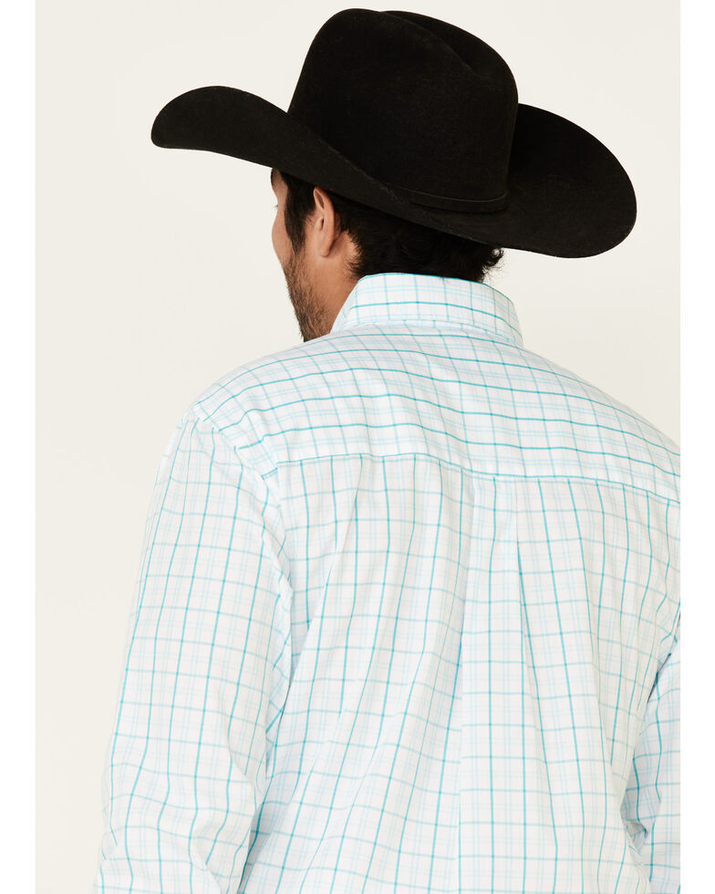 Wrangler Men's Classic Turquoise Small Plaid Long Sleeve Western Shirt , Turquoise, hi-res