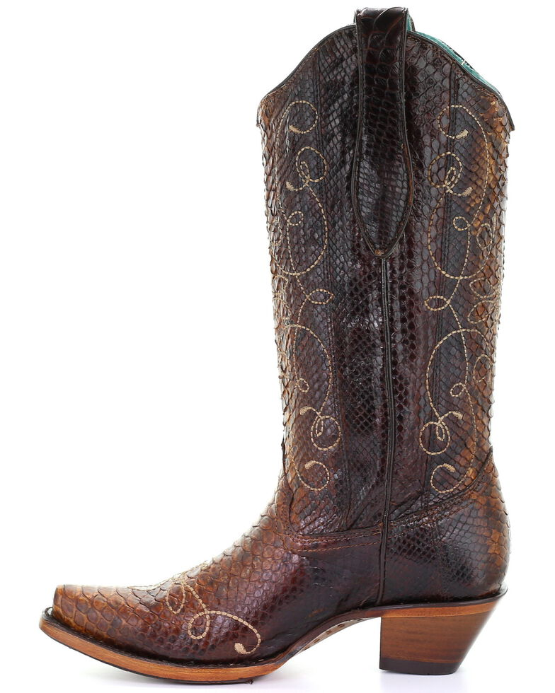 Corral Women's Tan Exotic Python Western Boots - Snip Toe, , hi-res