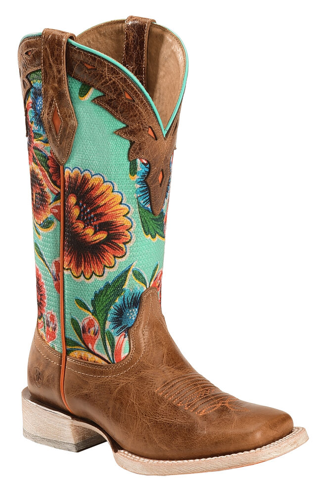 Ariat Floral Textile Circuit Champion Cowgirl Boots - Square Toe, Brown, hi-res