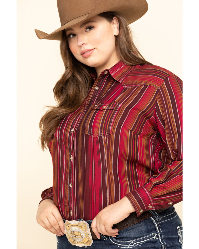 White Label by Panhandle Women's Serape Challis Long Sleeve Western Shirt - Plus, Multi, hi-res
