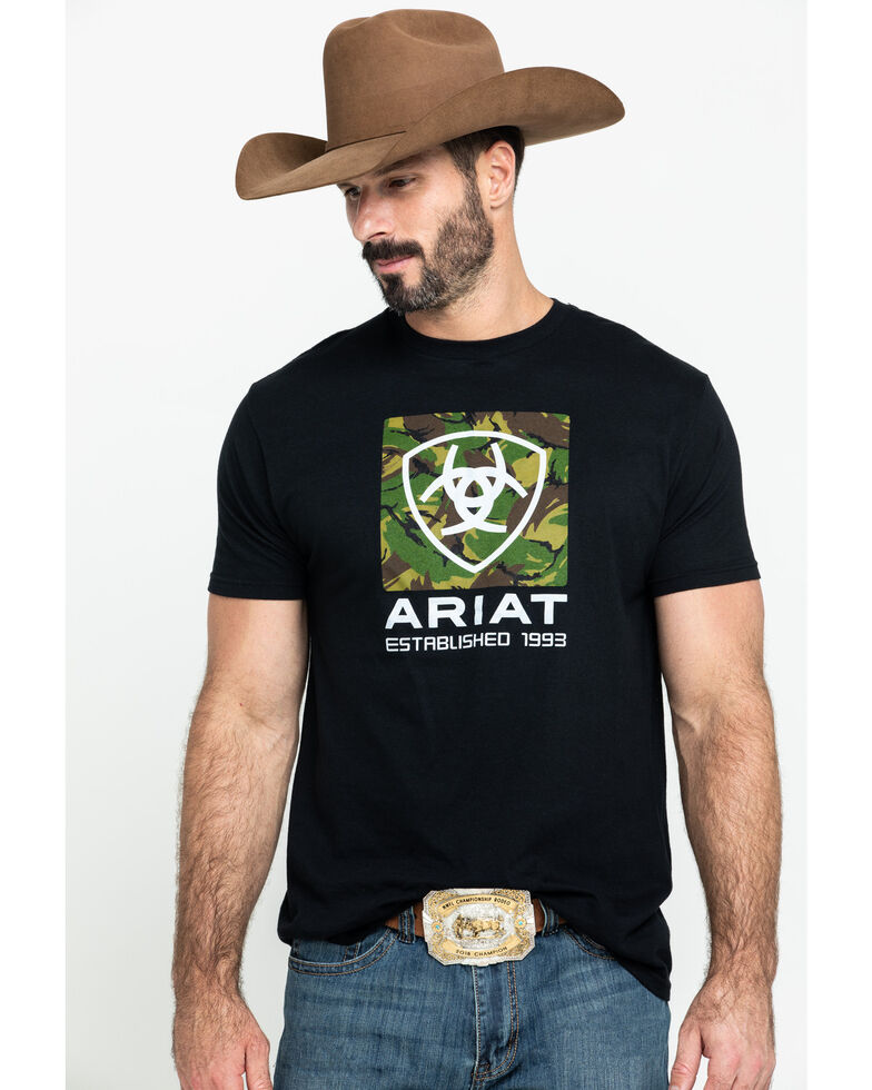 Ariat Men's Black Tiger Camo Logo Graphic T-Shirt , , hi-res