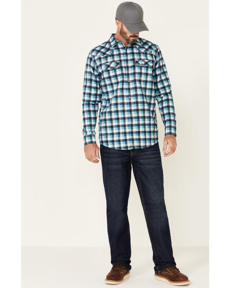 Cody James Men's FR Teal Plaid Long Sleeve Work Shirt - Tall , Teal, hi-res