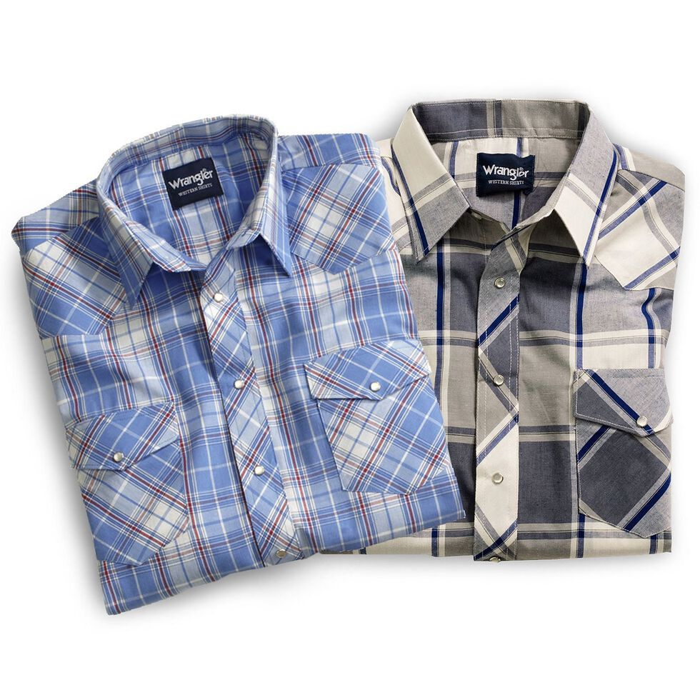 Wrangler Men's Short Sleeve Shirts - Big & Tall, Plaid, hi-res
