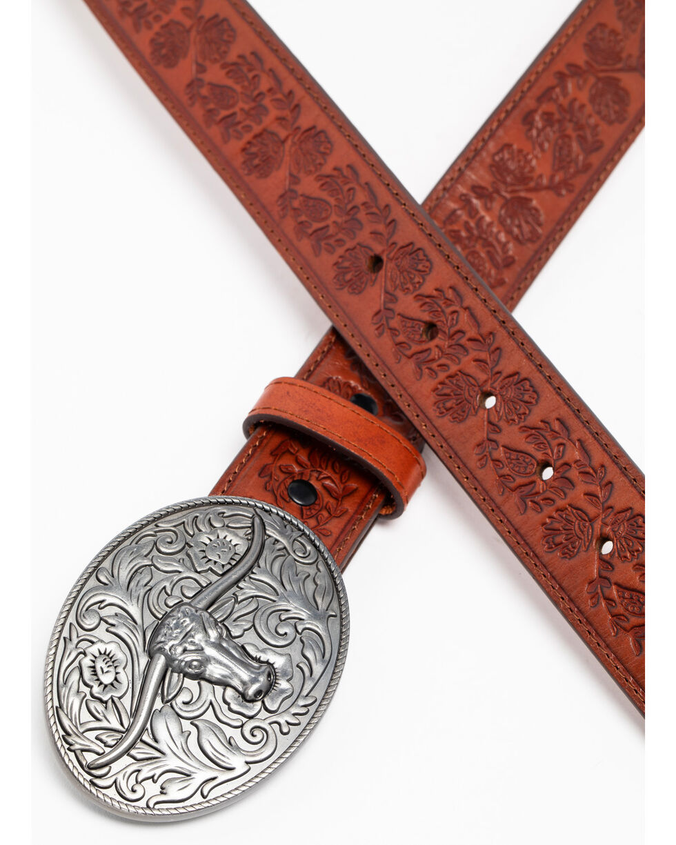 Idyllwind Women's Longhorn Buckle Belt, Tan, hi-res