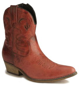 Dingo Moon & Cactus Zipper Boots, Red, hi-res