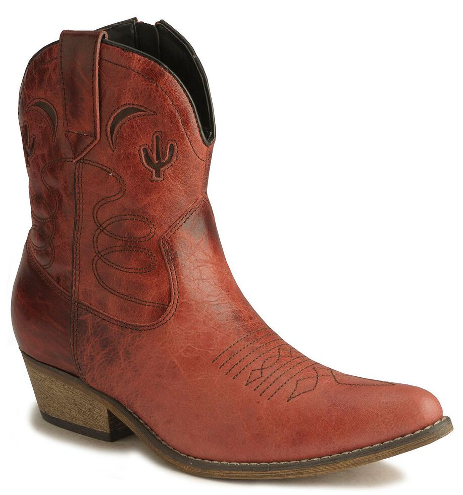 Dingo Moon & Cactus Zipper Boots - Medium Toe, Red, hi-res