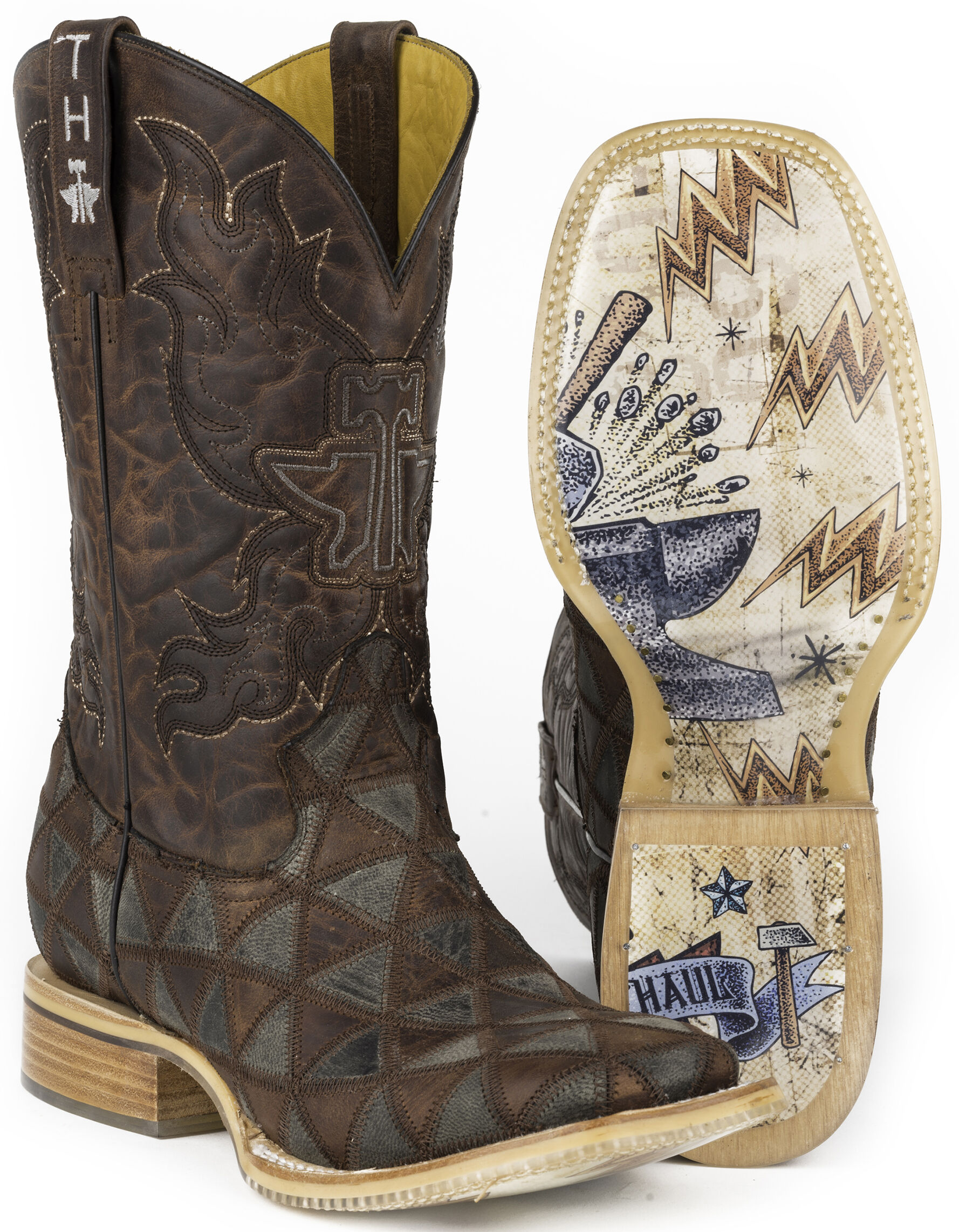 Triangles Cowboy Boots - Square Toe