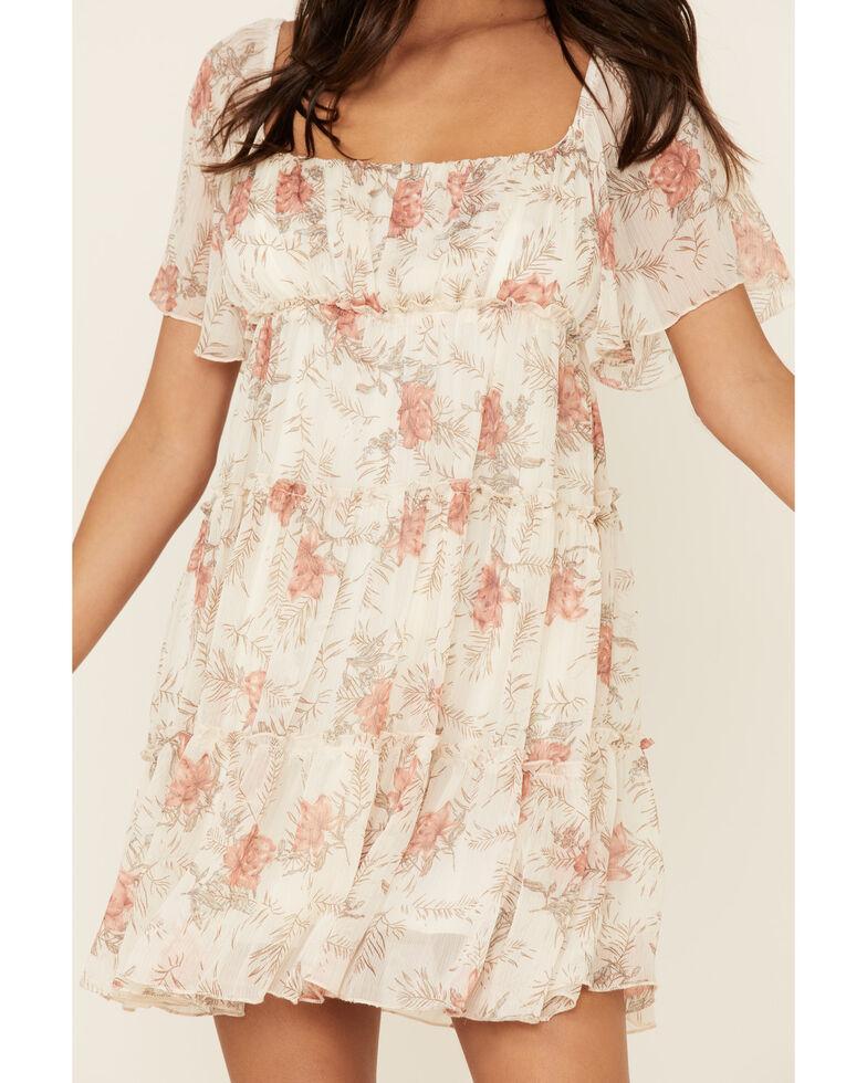 Miss Me Women's Floral Tiered Chiffon Dress, Beige/khaki, hi-res