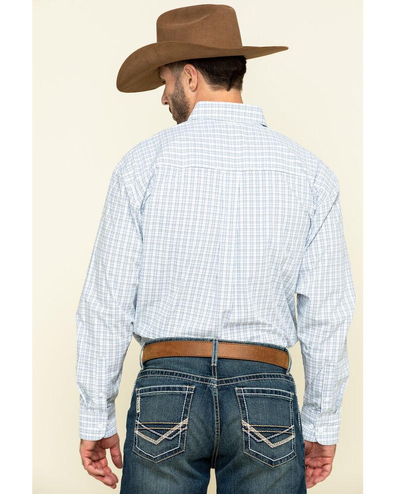 George Strait By Wrangler Men's Blue Check Plaid Long Sleeve Western Shirt , Blue, hi-res