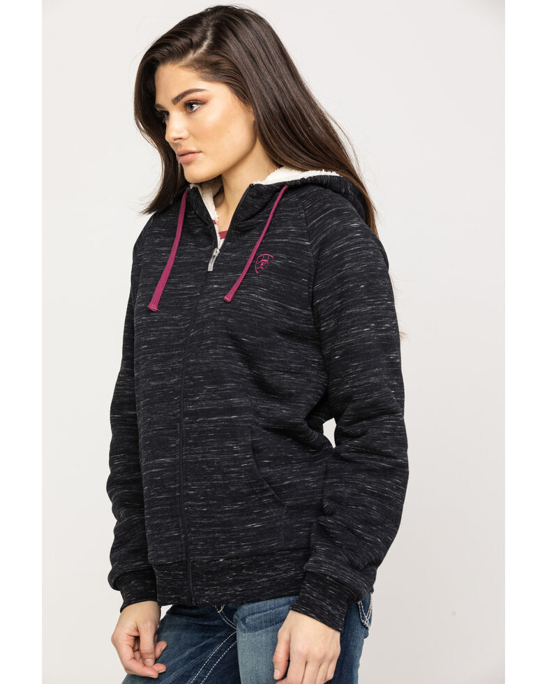 Ariat Women's Marbled Fleece Zip Up Hoodie, Black, hi-res