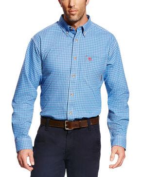 Ariat Men's FR Oliver Long Sleeve Plaid Work Shirt, Blue, hi-res
