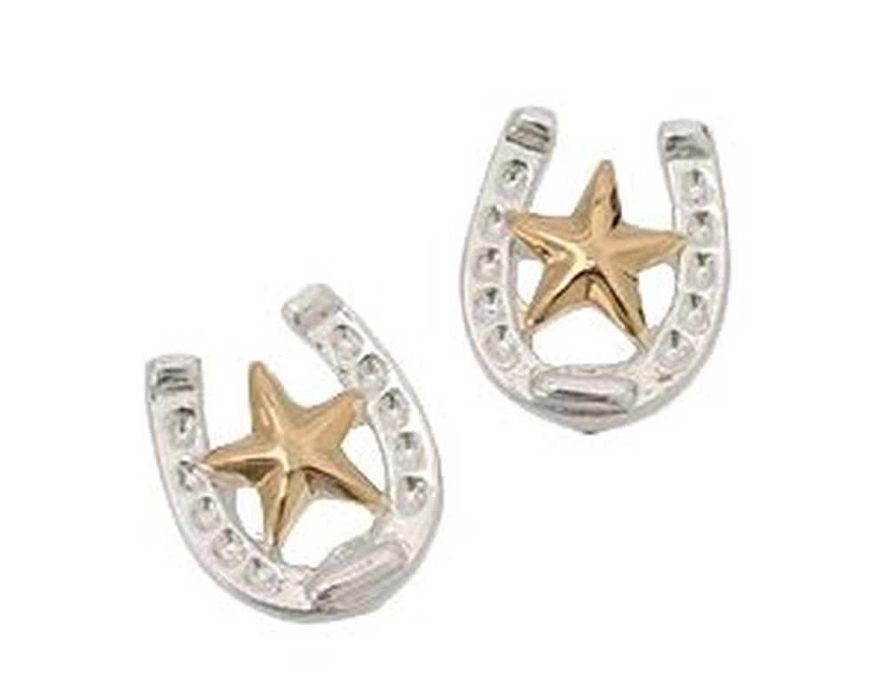 Montana Silversmiths Horseshoe & Star Earrings, Silver, hi-res