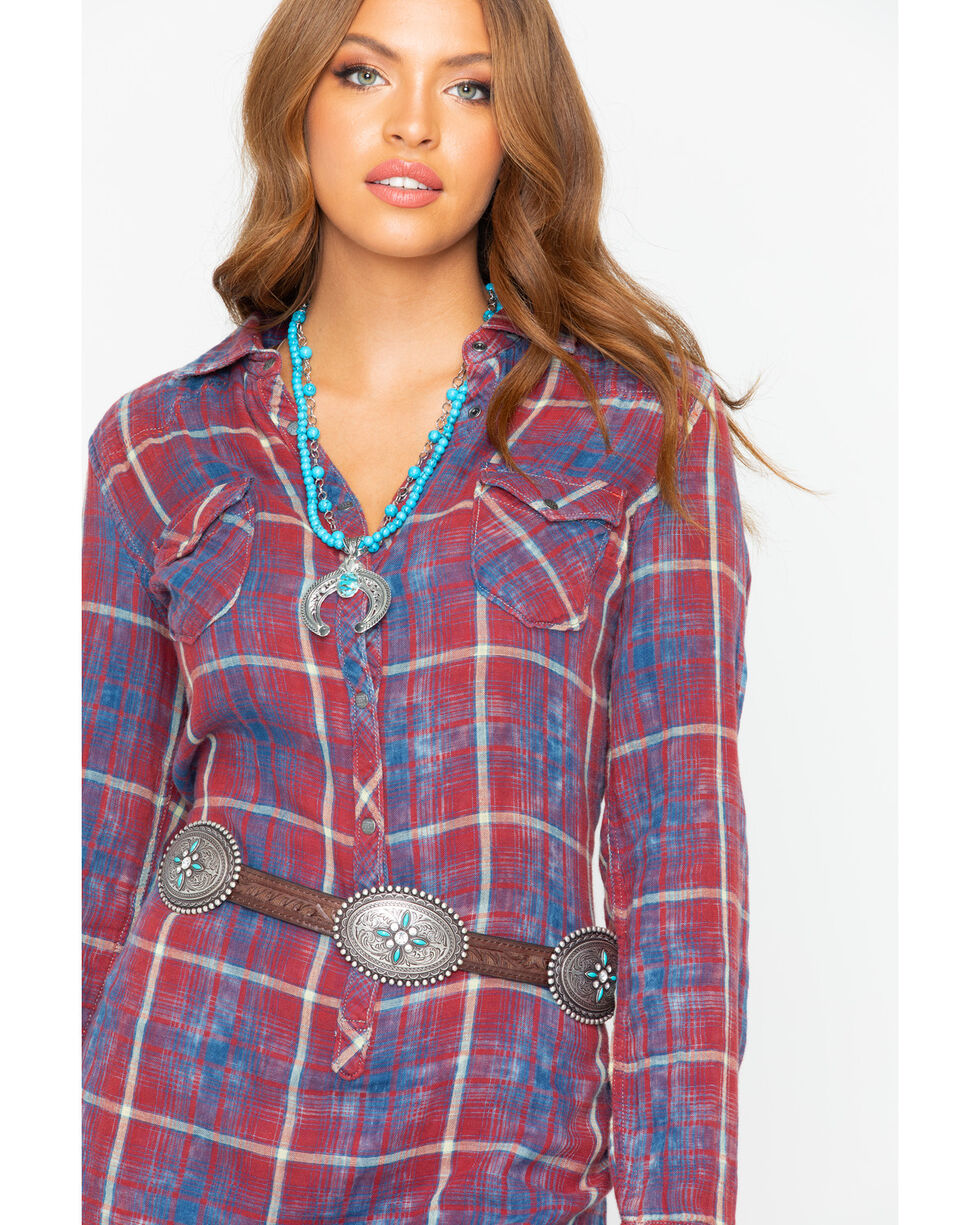 Ryan Michael Women's Double Face Plaid Dress , Indigo, hi-res