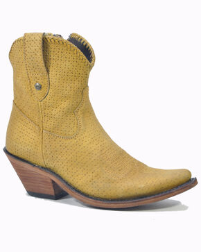 Liberty Black Women's Lucas Lion Western Booties - Pointed Toe, Yellow, hi-res