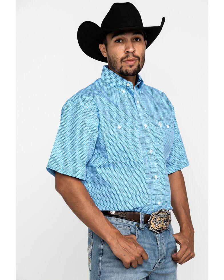 George Strait By Wrangler Men's Blue Star Geo Print Short Sleeve Western Shirt - Big, Blue, hi-res
