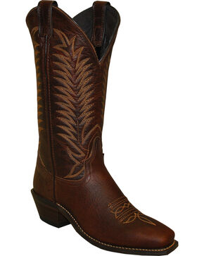 """Abilene Women's 12"""" Bison Western Boots - Square Toe, Brown, hi-res"""