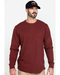 Hawx® Men's Red Solid Asphalt Thermal Crew Long Sleeve Work Shirt - Tall , Dark Red, hi-res