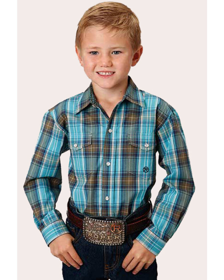 Roper Boys' Amarillo Cool Pines Sea Green Plaid Long Sleeve Western Shirt , Turquoise, hi-res