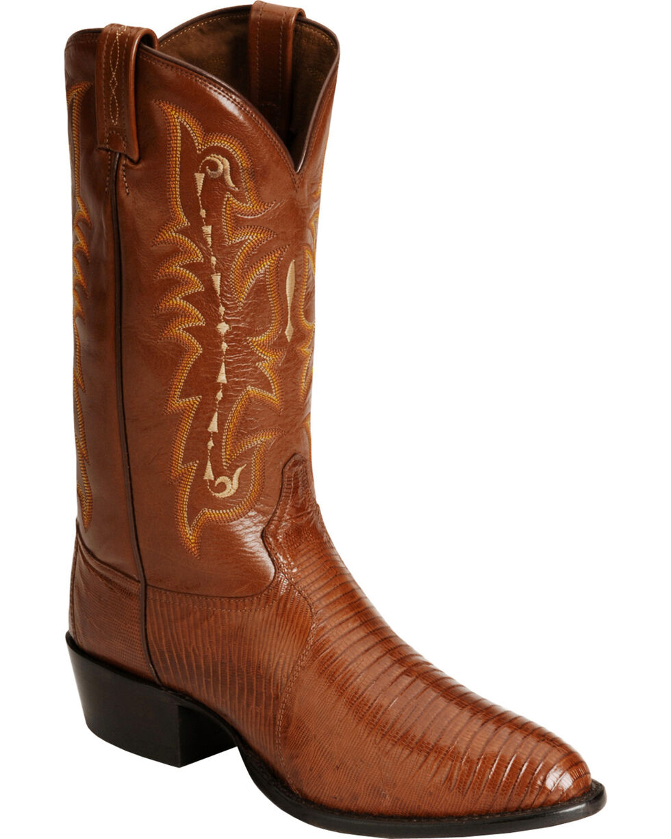 Tony Lama Lizard Boots - Medium Toe, Peanut Brittle, hi-res