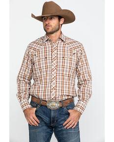 Roper Men's Brown Plaid Longhorn Embroidered Yoke Long Sleeve Western Shirt  , Brown, hi-res