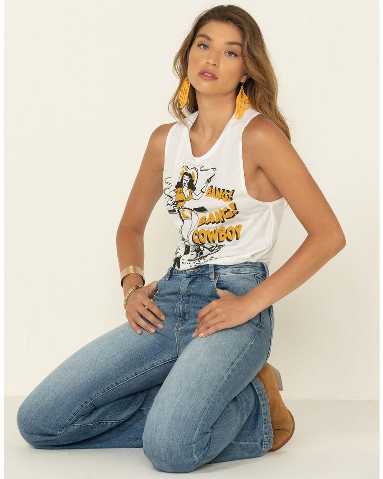 Country Deep Women's Bang Bang Cowboy Graphic Muscle Tank Top, White, hi-res
