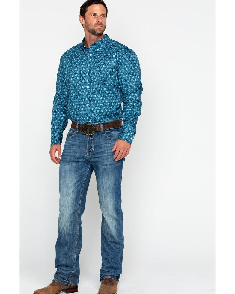 Cody James Core Men's Myles Floral Print Long Sleeve Western Shirt, Blue, hi-res
