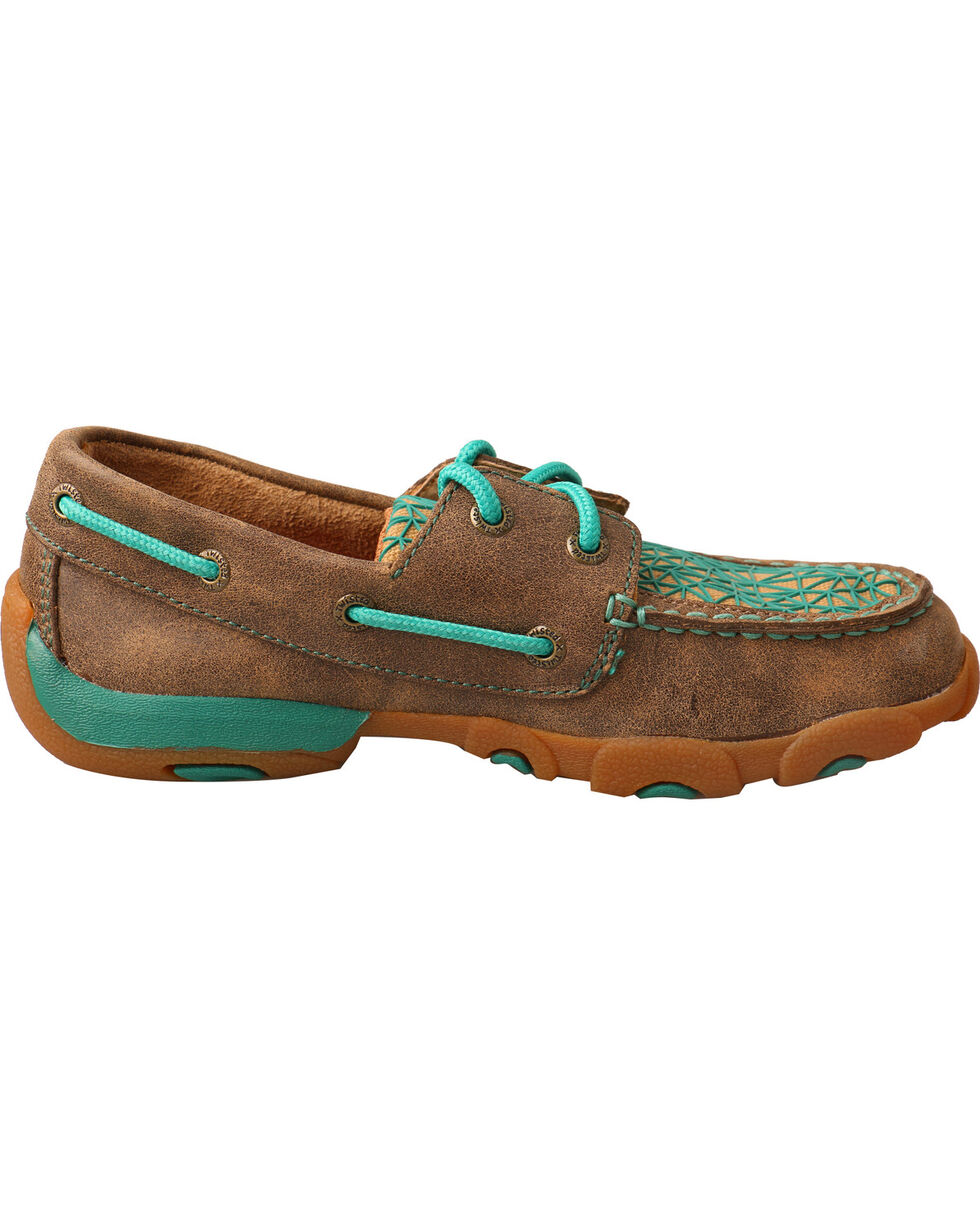 Twisted X Youth Girls' Bomber Brown Turquoise Driving Mocs - Moc Toe, Multi, hi-res