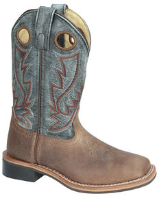 Smoky Mountain Boys' Conrad Western Boots - Square Toe, Black/brown, hi-res