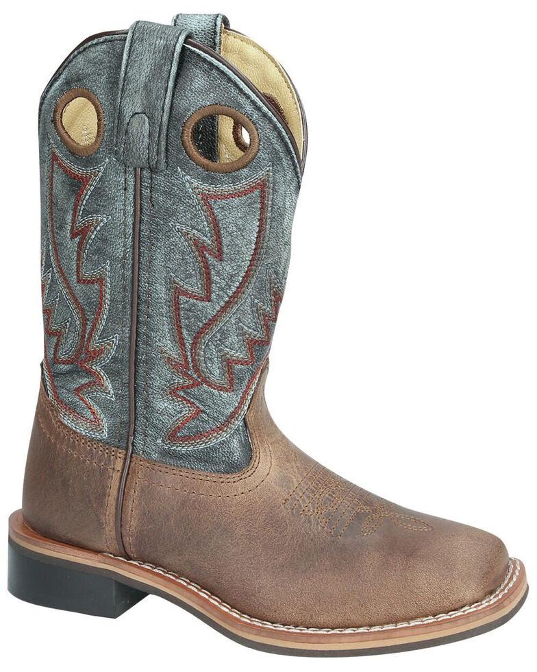 Smoky Mountain Boys' Conrad Western Boots - Square Toe, Black/brown, hi-res