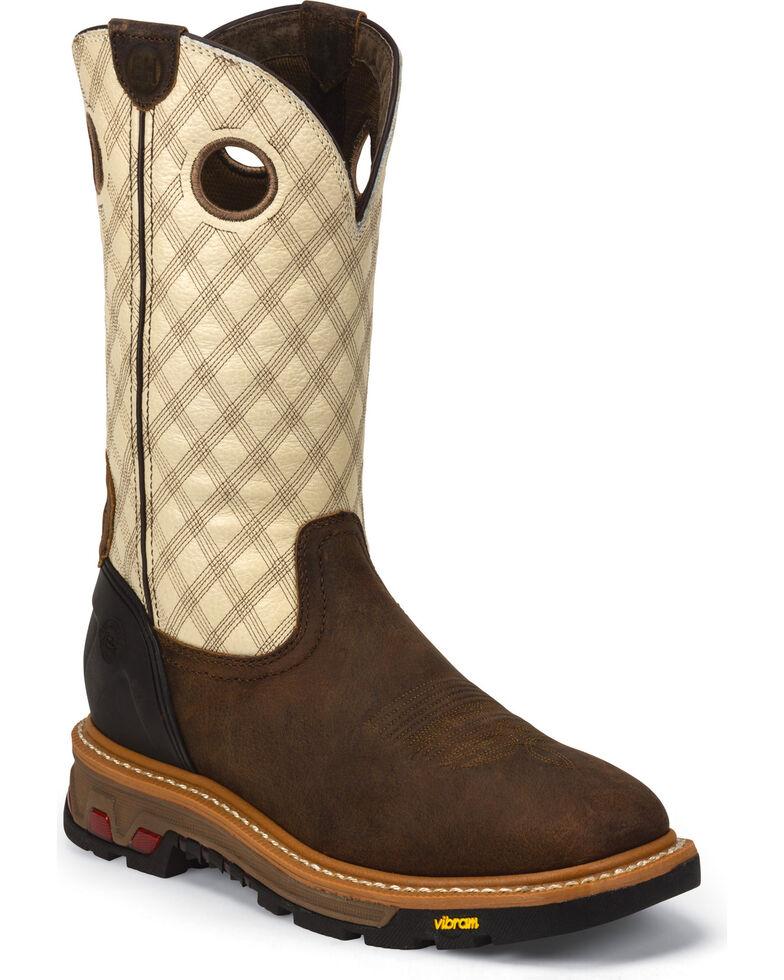 Justin Men's Roughneck Electrical Hazard Work Boots - Soft Toe, Tan, hi-res