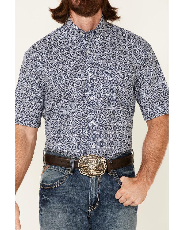 Roper Men's American Blues Medallion Print Short Sleeve Button-Down Western Shirt , Navy, hi-res