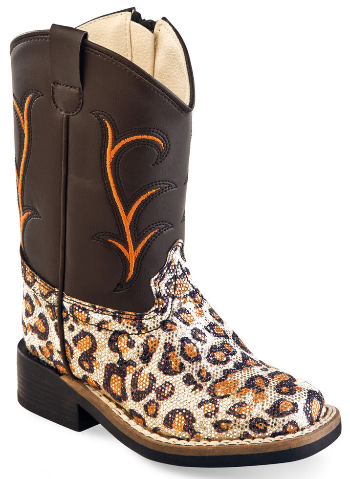 Old West Toddler Girls' Leopard Print Western Boots - Square Toe , Leopard, hi-res
