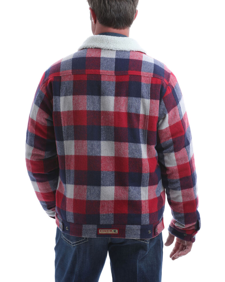 Cinch Men's Multi Plaid Sherpa Lined Trucker Jacket, Multi, hi-res