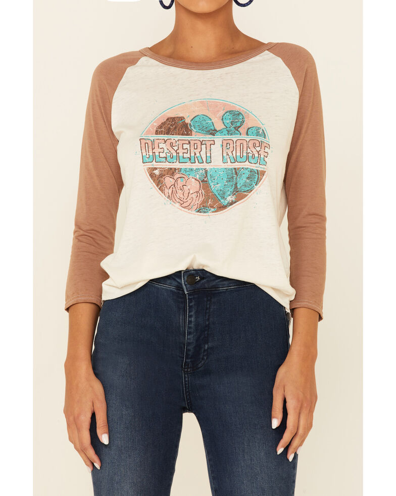 Rock & Roll Denim Women's Brown & Ivory Desert Rose Graphic Raglan Tee , Brown, hi-res